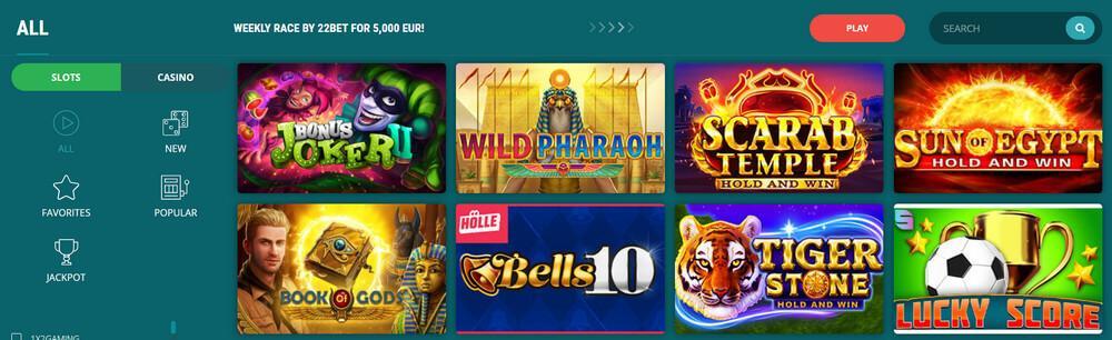 22 БЕТ казино онлайн